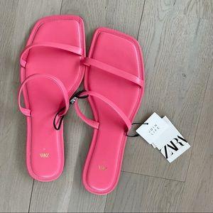 NWT Zara Hot Pink Leather Square Toe Slide Sandals